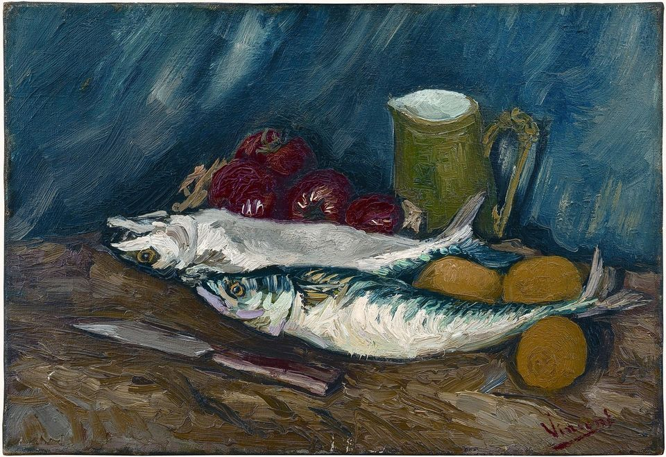 Vincent van Gogh's Still Life with Mackerels and Tomatoes (summer 1886)