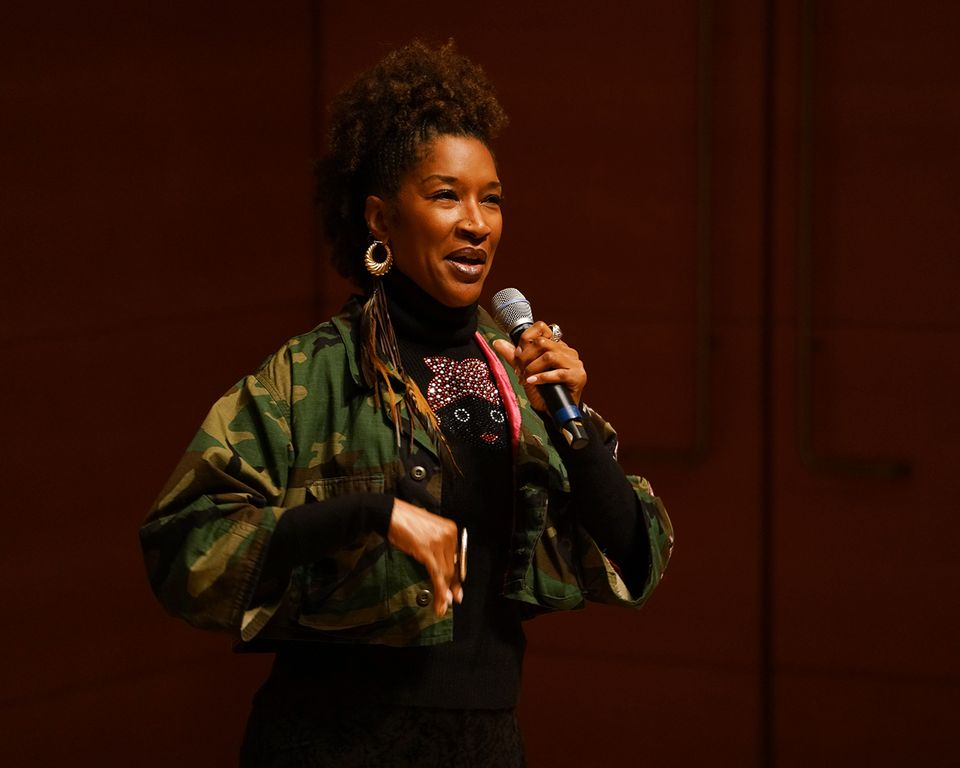 The writer and actress Liza Jessie Peterson performing a scene from her one-woman show The Peculiar Patriot at the Getty Center in Los Angeles Monday night