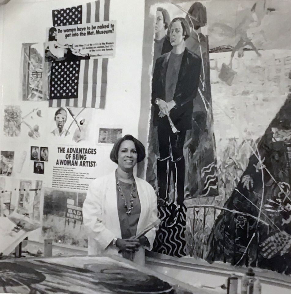 Emma Amos in her studio in the '90s